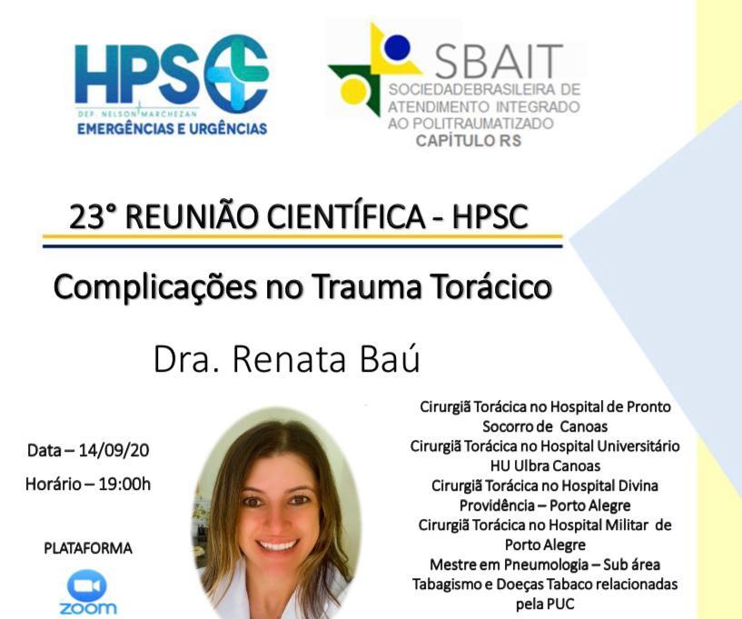 Complicações no Trauma Torácico - Reunião Científica HPSC 1